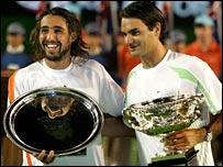 Marcos Baghdatis and Roger Federer