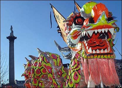 A dragon dance in London, UK