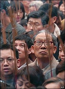 Worshippers in Taipei, Taiwan