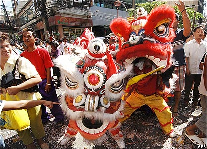 A dragon dance in Manila, the Philippines