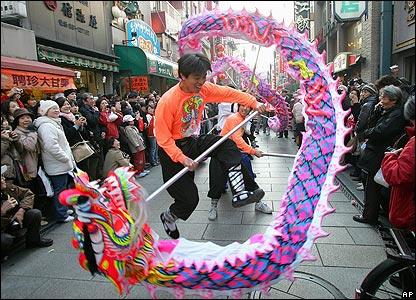Chinese dragon dancers in Yokohama, Japan
