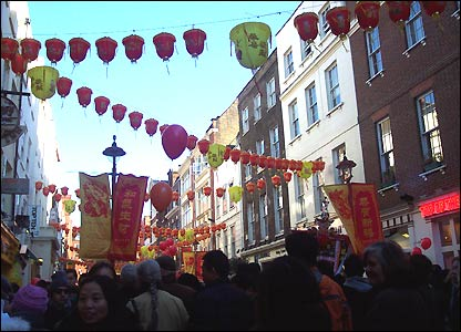Crowds fill the street in Chinatown