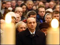 Polish Prime Minister Kazimierz Marcinkiewicz in the Katowice cathedral