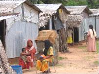Tsunami survivors in temporary shelters in Sri Lanka