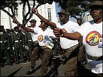 Former Mozambique freedom fighters parade