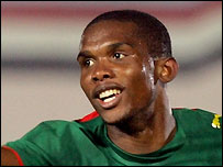 Samuel Eto'o celebrates scoring for Cameroon
