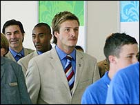 David Beckham arrives with the London delegation on Wednesday