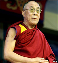 His Holiness The Dalai Lama arrives at celebrations to mark his 70th birthday in Dharamsala, 06 July 2005
