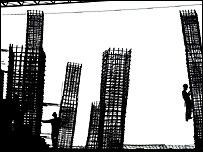 Siluetas de trabajadores de la construcción