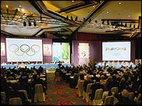 The IOC vote is taking place in Singapore