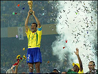 Brazil's Cafu with the World Cup