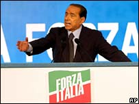 Silvio Berlusconi at the rally in Sardinia