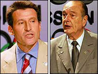 London bid leader Lord Coe and French president Jacques Chirac