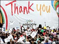 Crowds celebrate in London's Trafalgar Square