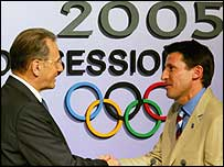 IOC president Jacques Rogge with London bid leader Lord Coe