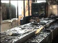 Fire-damaged kitchen