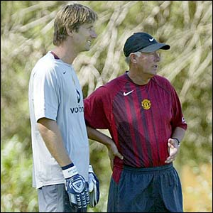 Edwin van der Sar and Sir Alex Ferguson
