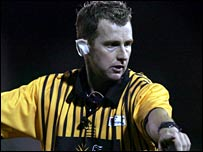 Welsh referee Nigel Owens officiates during a match