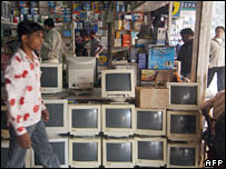 A computer market in New Delhi