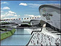 Computer generated image of London's proposed Olympic riverside park