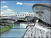 Computer image of London's proposed Olympic riverside park