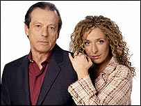 Chrissie Watts (Tracy-Ann Oberman) with Dirty Den (Leslie Grantham)