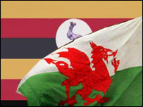 The Ugandan and Welsh flags
