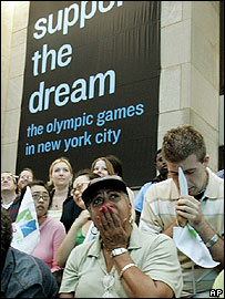 Supporters of the New York bid react to hearing that their city will not host the 2012 Olympics