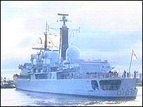 HMS Cardiff heading into port