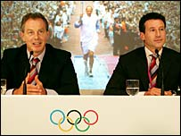 Prime Minister Tony Blair sits shoulder to shoulder with Lord Coe