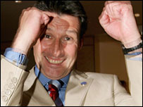 Lord Coe celebrates London's victory