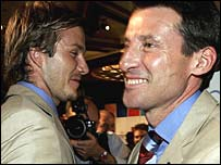 Seb Coe celebrates with England captain David Beckham