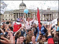 Crowds at Trafalgar Square
