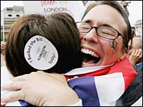 A fan celebrates London being awarded the 2012 Olympic Games