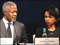 Kofi Annan and Condoleezza Rice