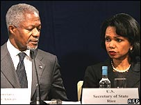 Kofi Annan and Condoleezza Rice