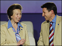 Princess Anne and Lord Coe at the Singapore vote