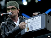 Bono said millions supported the campaign to end poverty