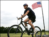 US President George W Bush cycling on his ranch in Texas (file photo)