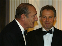 Jaques Chirac y Tony Blair