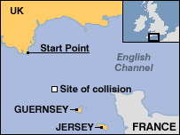 Map showing tanker collision