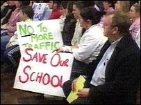 Parents protesting against the closure