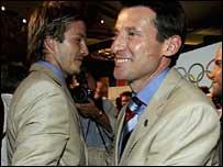 Coe (right) celebrates with David Beckham