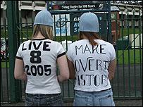 Fans at the Live 8 concert in Edinburgh