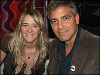 George Clooney backstage at the Live 8 concert in Edinburgh