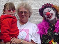 Clown and local people - bbc