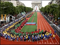 Paris turned the Champs Elysees into an Olympic running track in a huge show of support a few weeks before the vote