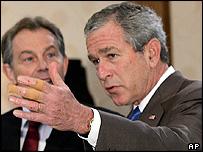 President Bush and Tony Blair at news conference