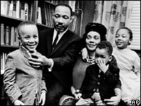 Martin Luther King with wife Coretta and three of their four children, in 1963