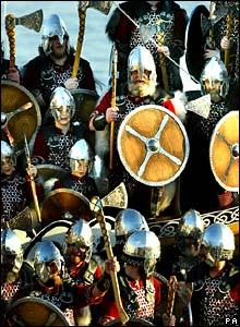 Revellers dressed up as vikings in Shetland